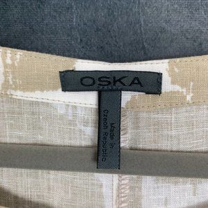Oska Dresses - CLEARANCE Oska Linen Lagenlook Printed Shift Dres